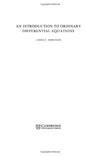 Robinson An Introduction to Ordinary Differential Equations Author(s): James C. Robinson