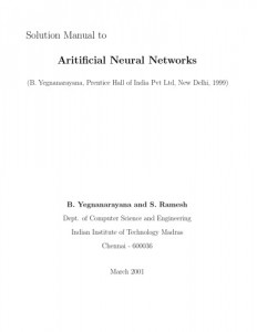 Instructors Solution Manual to Artificial Neural Networks - B. Yegnanarayana - -107pd1mb