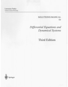 Instructor's Solutions Manual to Differential Equations and Dynamical Systems 3rd ed-Lawrence Perko-167pd50mb