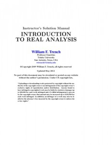 Solution Manual for Introduction to real analysis-William F. Trench