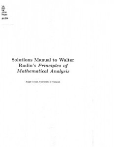 Solution Manual for Principles of Mathematical Analysis 3rd ed - Walter Rudin - 238pd20mb