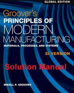 Solution Manual for Groover's Principles of Modern Manufacturing - Mikell Groover