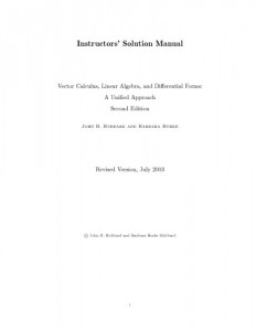 Solution Manual for Vector Calculus, Linear Algebra and Differential Forms 2nd ed - John H. Hubbard - 62pd0.5mb