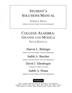 Student's Solutions Manual for College Algebra, Graphs and Models-Judith A. Penna-333pd9mb